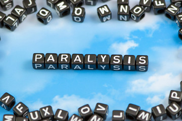 The word paralysis on the sky background
