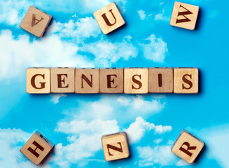 The word Genesis on the sky background