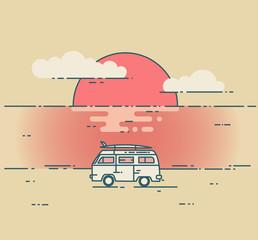 Minivan and sea sunset landscape.