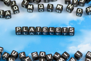 The word platelet on the sky background