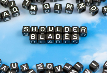 The word shoulder blades on the sky background
