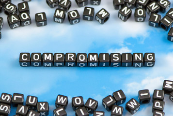 The word compromising on the sky background