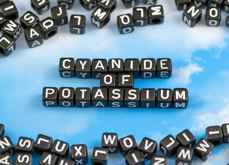 The word cyanide of potassium on the sky background