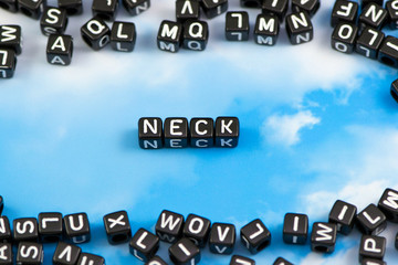 The word neck on the sky background
