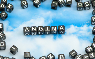 The word Angina on the sky background