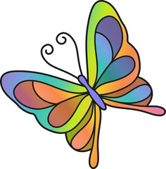 Vector illustration of a rainbow butterfly