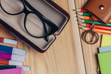 glasses and key case, stationery