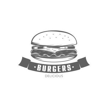 vector burger emblem