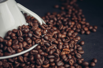 round coffee beans and light dishes