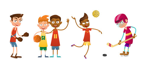Flat set of kids doing different types of sports. The boy volleyball player, boxer and hockey player. Two other boys basketball.