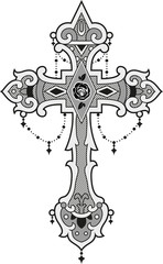 Vector illustration of an ornated cross