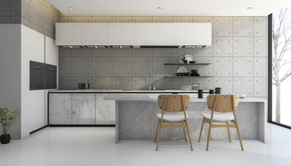 3d rendering loft and modern concrete kitchen