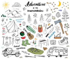 Camping, Hiking Hand Drawn sketch doodle set vector illustration with mountains, tent, raft, grill and campfire, axe and knife, pine trees tourist food, trekking shoes and rubber boots. isolated