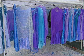 Subtle pastel shades of dresses at the U District street fair,in Seattle