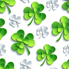 Seamless pattern with 3d Patricks clover cutting paper