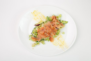 Beautiful meat salad on white background