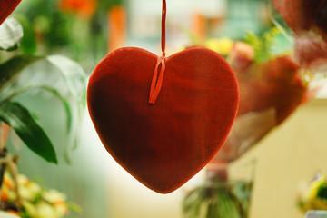valentine day. decorated valentine heart, background close up