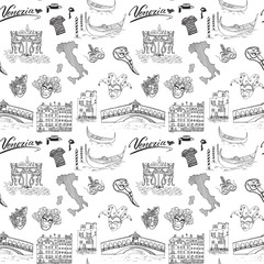 Venice Italy seamless pattern. Hand drawn sketch with map of Italy, gondolas, gondolier clothes, carnival venetian masks, houses, market bridge, cafe table and chairs. Doodle drawing isolated on white