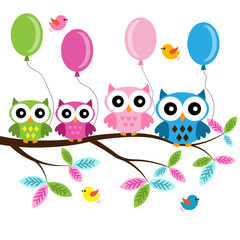 Four colorful owls with balloons sitting on the branch and flying birds on a white background