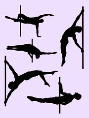 Healthy male pole dance silhouette. Good use for symbol, logo, web icon, mascot, sign, or any design you want.