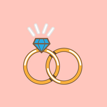 Wedding ring vector icon  isolated