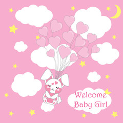 Baby shower card with cute girl rabbit with pink balloons suitable for girl baby shower postcard, greeting card, and invitation card