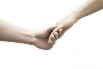 Hands men and female feeling Engagement  on white background