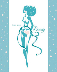 Beauty. Beautiful young woman in turquoise ribbons. Idea design for a beauty salon, model studio, and another.