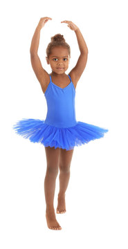 Cute African American ballerina on white background