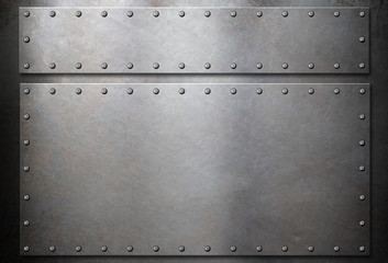 steel plates with rivets over metal background