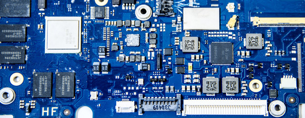Blue motherboard close up