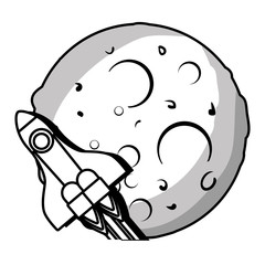 Planet of the solar system with rocket vector illustration design