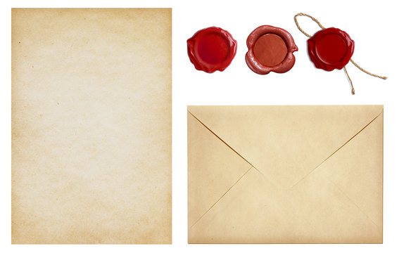 Old envelope and letter paper with wax seal stamps set isolated