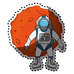 Planet of the solar system with astronaut vector illustration design