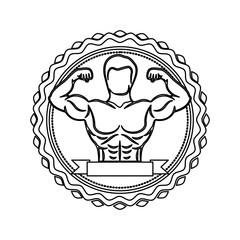 contour stamp with half body muscle man and label vector illustration