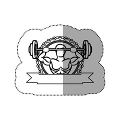 contour sticker frame with muscle man lifting a disc weights and label shading vector illustration