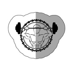 sticker border with black contour muscle man lifting a disc weights vector illustration