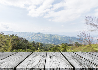 White wooden plank with mountain view