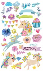 Cute watercolor magic unicorn with flowers