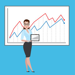 business woman with growing graph, Business success concept,