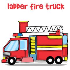 Transport of ladder fire truck cartoon