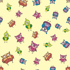 seamless pattern with different cute owls