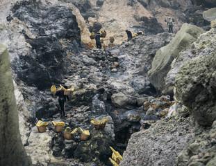 Crater of sulfur volcano Ijen in Indonesia