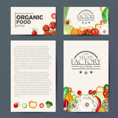 Set of vector cards with fresh and healthy vegetables