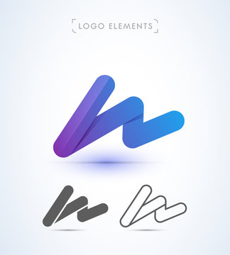 Abstract letter W logo. Can be used as application icon, corporate identity, company sign