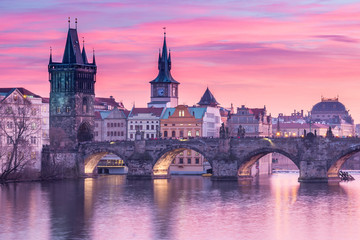 Acrylic Prints Prague Charles Bridge in Prague with sunset sky in background, Czech Republic.