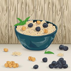 Cereal porridge in bowl with  blueberry, hazelnut and mint leaves on wooden background. Healthy breakfast. Isolated elements. Hand drawn vector illustration