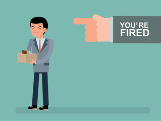 The chief dismisses the employee. Youre fired. Boss getting fired by employee. Cartoon vector flat-style illustration