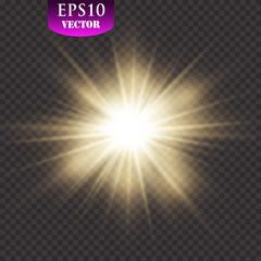 Transparent glow light effect. Star burst with sparkles. Gold glitter
