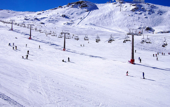 Sierra Nevada, Spain, 2016. It's a mountain range in Spain. It is a popular tourist destination, as its high peaks make skiing possible in one of Europe's most southerly ski resorts